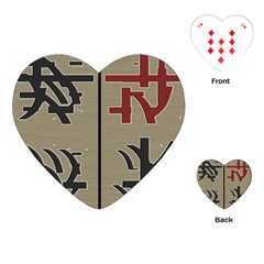 Xia Script On Gray Background Playing Cards (Heart)
