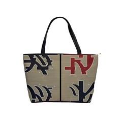 Xia Script On Gray Background Shoulder Handbags