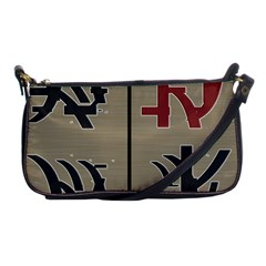 Xia Script On Gray Background Shoulder Clutch Bags