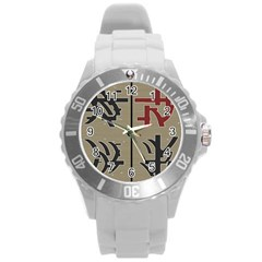 Xia Script On Gray Background Round Plastic Sport Watch (l)