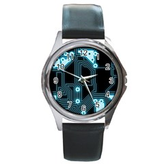 A Completely Seamless Background Design Circuitry Round Metal Watch