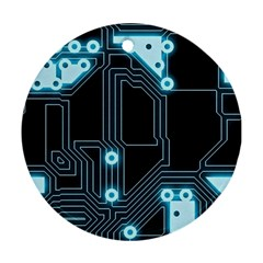 A Completely Seamless Background Design Circuitry Ornament (round)