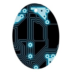 A Completely Seamless Background Design Circuitry Ornament (Oval)