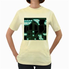 A Completely Seamless Background Design Circuitry Women s Yellow T Shirt