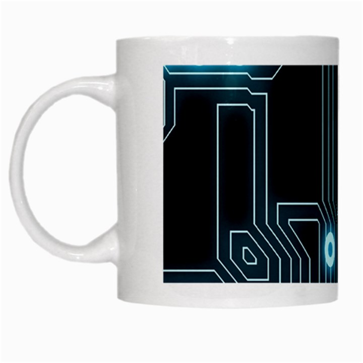 A Completely Seamless Background Design Circuitry White Mugs