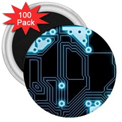 A Completely Seamless Background Design Circuitry 3  Magnets (100 Pack)