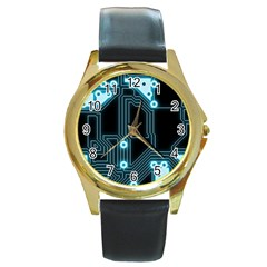 A Completely Seamless Background Design Circuitry Round Gold Metal Watch