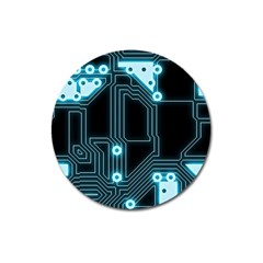 A Completely Seamless Background Design Circuitry Magnet 3  (round)