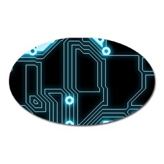 A Completely Seamless Background Design Circuitry Oval Magnet
