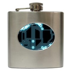 A Completely Seamless Background Design Circuitry Hip Flask (6 Oz)