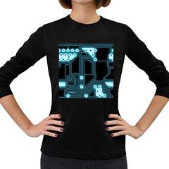 A Completely Seamless Background Design Circuitry Women s Long Sleeve Dark T-Shirts