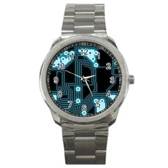 A Completely Seamless Background Design Circuitry Sport Metal Watch