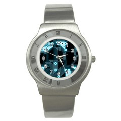 A Completely Seamless Background Design Circuitry Stainless Steel Watch