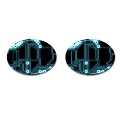 A Completely Seamless Background Design Circuitry Cufflinks (oval)