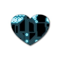 A Completely Seamless Background Design Circuitry Heart Coaster (4 Pack)