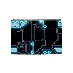 A Completely Seamless Background Design Circuitry Cosmetic Bag (medium)