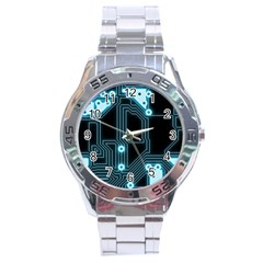 A Completely Seamless Background Design Circuitry Stainless Steel Analogue Watch