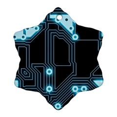 A Completely Seamless Background Design Circuitry Snowflake Ornament (two Sides)