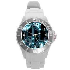 A Completely Seamless Background Design Circuitry Round Plastic Sport Watch (l)