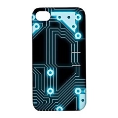 A Completely Seamless Background Design Circuitry Apple iPhone 4/4S Hardshell Case with Stand