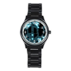 A Completely Seamless Background Design Circuitry Stainless Steel Round Watch