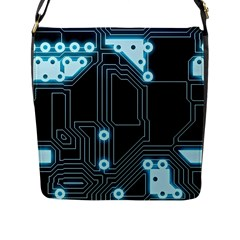 A Completely Seamless Background Design Circuitry Flap Messenger Bag (l)