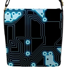 A Completely Seamless Background Design Circuitry Flap Messenger Bag (s)