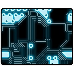 A Completely Seamless Background Design Circuitry Double Sided Fleece Blanket (medium)