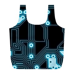 A Completely Seamless Background Design Circuitry Full Print Recycle Bags (L)