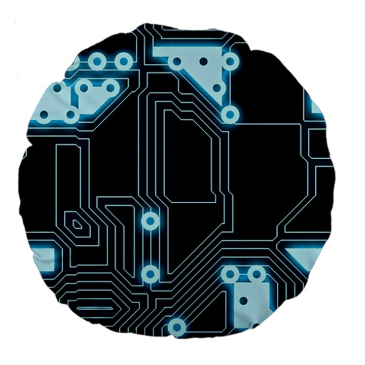 A Completely Seamless Background Design Circuitry Large 18  Premium Flano Round Cushions