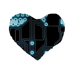A Completely Seamless Background Design Circuitry Standard 16  Premium Flano Heart Shape Cushions