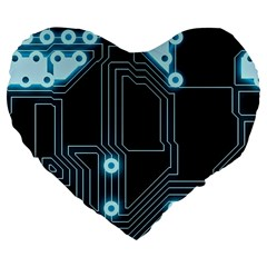 A Completely Seamless Background Design Circuitry Large 19  Premium Flano Heart Shape Cushions