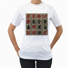 Ancient Chinese Secrets Characters Women s T Shirt (white) (two Sided)