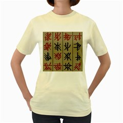 Ancient Chinese Secrets Characters Women s Yellow T Shirt