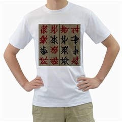 Ancient Chinese Secrets Characters Men s T-Shirt (White) (Two Sided)
