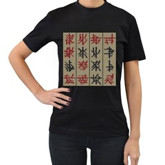 Ancient Chinese Secrets Characters Women s T Shirt (black) (two Sided)