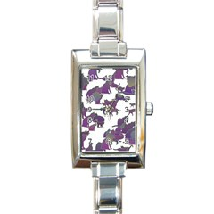 Many Cats Silhouettes Texture Rectangle Italian Charm Watch