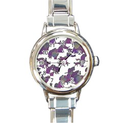 Many Cats Silhouettes Texture Round Italian Charm Watch