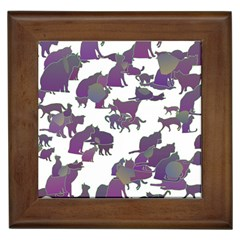 Many Cats Silhouettes Texture Framed Tiles