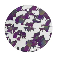Many Cats Silhouettes Texture Ornament (round)