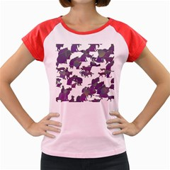 Many Cats Silhouettes Texture Women s Cap Sleeve T Shirt