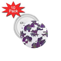 Many Cats Silhouettes Texture 1 75  Buttons (10 Pack)