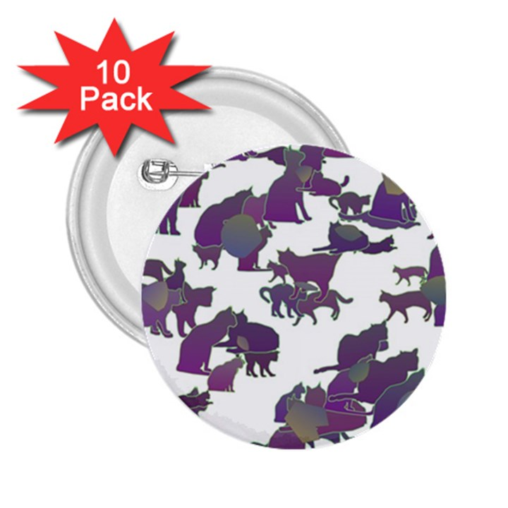 Many Cats Silhouettes Texture 2.25  Buttons (10 pack)