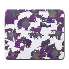 Many Cats Silhouettes Texture Large Mousepads