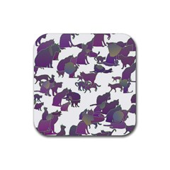 Many Cats Silhouettes Texture Rubber Square Coaster (4 Pack)