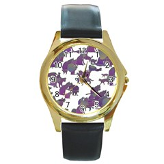 Many Cats Silhouettes Texture Round Gold Metal Watch