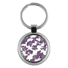 Many Cats Silhouettes Texture Key Chains (round)