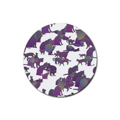 Many Cats Silhouettes Texture Rubber Round Coaster (4 pack)