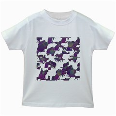 Many Cats Silhouettes Texture Kids White T Shirts