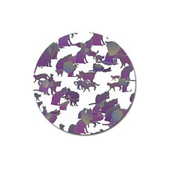 Many Cats Silhouettes Texture Magnet 3  (Round)
